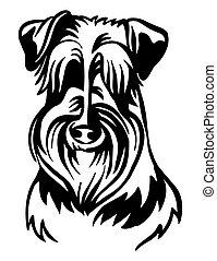 imagen, perro, vector, blanco, schnauzer, plano de fondo