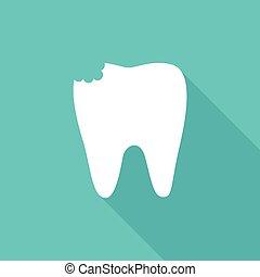 Imagen plana de dientes con cavidad