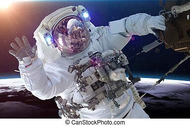 imagen, planeta, encima, elementos, earth., esto, astronauta, nasa, amueblado, espacio