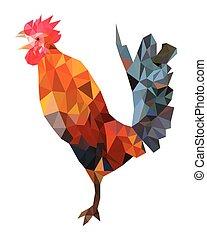 Imagen poligonal de gallo colorido