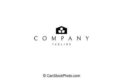 imagen, silueta, interior., casa, resumen, planta, vector, logotipo