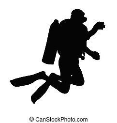 imagen, silueta, toma, escafandra autónoma, agua, debajo, deporte, buzo, ¿?