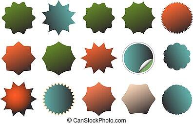 imagen, starburst, set., colorido, abolladura