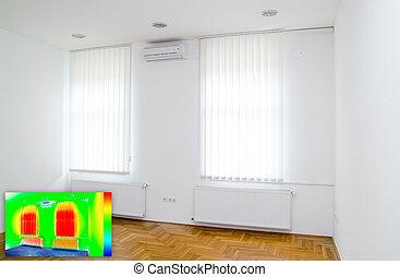 imagen térmica, habitación vacía