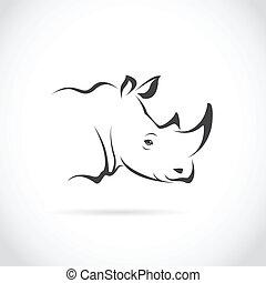 imagen, vector, cabeza, rinoceronte