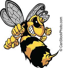 imagen, vector, caricatura, avispón, abeja