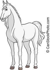Imagen vector de color de un caballo blanco.
