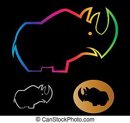 imagen, vector, rinoceronte