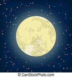 Imagen vectora de luna en la noche. EPS 8