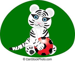 Imagen vectora de un tigre blanco