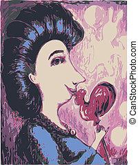 Imagen vectora de una mujer con un caramelo