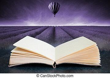 imagen, verano, globo, campo puesta sol, paisaje, libro, caliente, toned, compuesto, aire, abierto, conceptual, lavanda