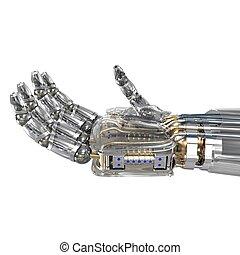 imaginario, objeto, robot, llevar a cabo la mano