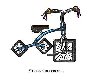 imitation., illustration., ruedas, image., camiseta, grabado, estilo, ropa, tabla, design., vector, dibujado, cuadrado, rasguño, bosquejo, huella de mano, triciclo, niños