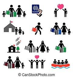 immigrants, refugiado, familias