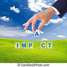 impacto, hecho, palabra, empresa / negocio, mano, botones, hombre