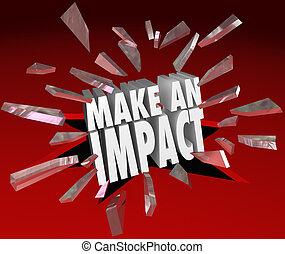 impacto, marca, rotura, vidrio, importante, palabras, diferencia, 3d