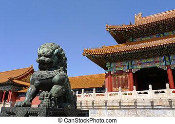 imperial, piedra, ciudad, dinastía, guardián, prohibido, supremo, lion), ming, (shishi, león, armonía, beijing, puerta primera, china., o
