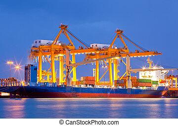 importación, astillero, exportación, logístico