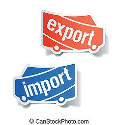importación, etiquetas, exportación