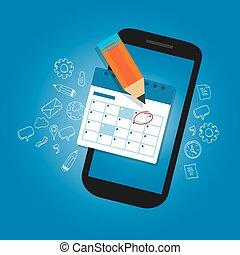 importante, marca, horario, fechas, dispositivo, smart-phone, móvil, recordatorio, tiempo, calendario, plan, organizador