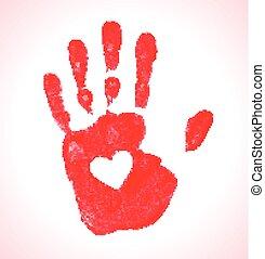 Imprenta de mano con icono del corazón