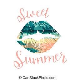 Imprenta tropical de verano con eslogan para camisetas, posters, tarjetas y otros usos.