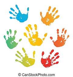 Impresa arcoíris de mano aislada en fondo blanco. La huella de un niño de color. Pintura creativa. Feliz diseño de la infancia. Un sello de niños artísticos, dedos humanos brillantes y palmas. Ilustración de vectores