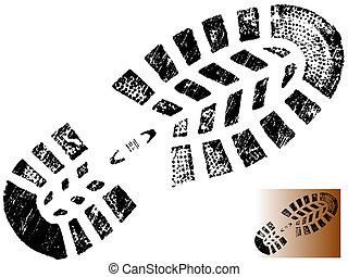 impresión, bota, grungy, 1