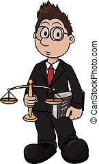 impresión, caricatura, ilustración, abogado