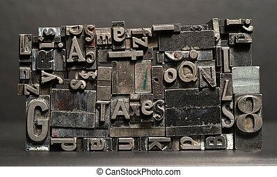 impresión, cartas, texto, metal, typeset, prensa, tipo, tipografía, impuestos