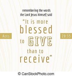 impresión, cita, él, más, o, blesses, que, recibir, biblia, cartel, uso, elasticidad, actúa