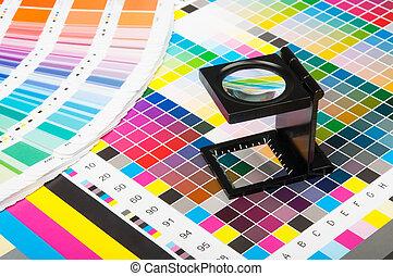 impresión, color, dirección, producción
