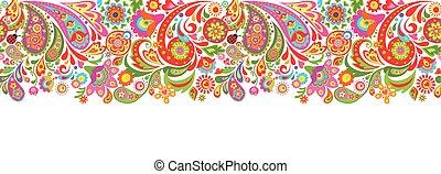 impresión, decorativo, flores coloridas, seamless, resumen, frontera