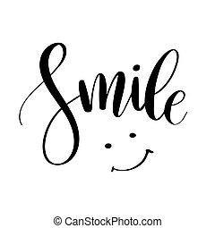impresión, phrase., cita, tela, caligrafía, inspirador, diseño, posters., tipografía, mano, dibujado, smile., cartel, moderno, letras