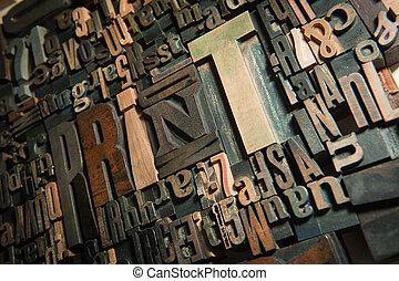 impresión, plano de fondo, madera