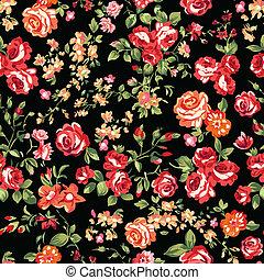 impresión, rosas, negro rojo