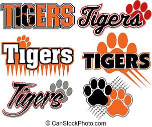 impresión, tigres, diseños, pata