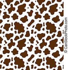 impresión, vaca, seamless, patrón, vector, piel, marrón