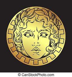impresión, vector, o, dios romano, diseño, antigüedad, estilo, mano, dibujado, apollo., cara, griego, tatuaje, sol, illustrarion, destello