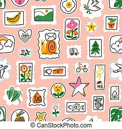 impresionante, patrón, sellos, vector, correo, caricatura, colección
