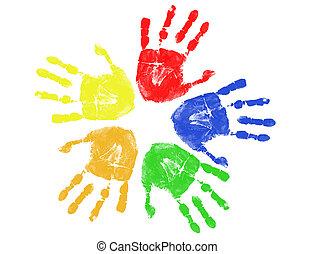 impresiones, colorido, mano