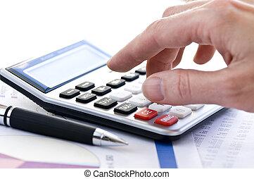impuesto, pluma, calculadora