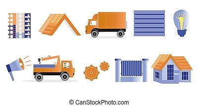 inacabado, ilustraciones, construcción, theme., casas, materiales, tema, camiones, vector, diseño de edificio, horn., conjunto, lámpara