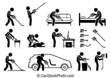 inalámbrico, portátil, hombre del palillo, vacío, house., utilizar, limpiador, limpio