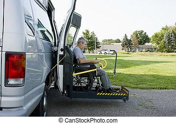 incapacidad, conversión, furgoneta