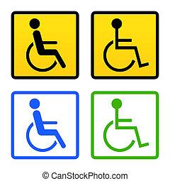 incapacitado, sílla de ruedas, señal