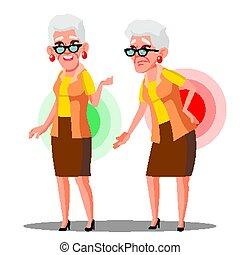 Inclínate sobre la anciana del dolor de espalda, vector ciática. Ilustración de dibujos animados