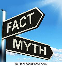 incorrecto, información, mito, medios, poste indicador, correcto, o, hecho