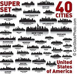 increíble, estados, unido, set., contorno, ciudad, america.